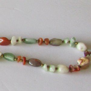 Vintage Multicolored Semi Precious Stone Necklace